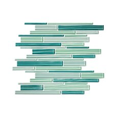 Tropical Reflections Hand Painted Strip Glass Mosaic Tile in Green