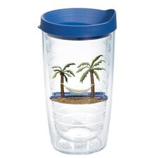Sun and Surf Palm Tree and Hammock Tumbler with Lid