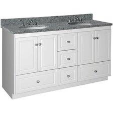 """Simplicity 60"""" Double Bowl Bathroom Vanity Base"""