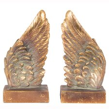 Polyresin Angel Wings Book Ends Bookends Sculpture