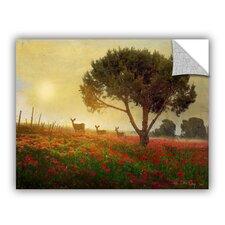 Tree Poppies Deer by Chris Vest Wall Mural