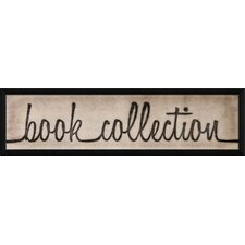 Book Collection Script Sign Framed Textual Art