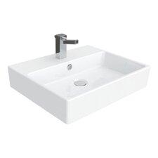 Simple Ceramic Rectangular Vessel Bathroom Sink with Overflow