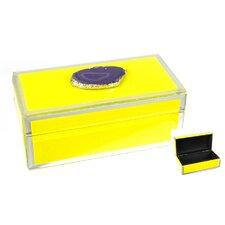 Wood & Glass Jewelry Box with Stone