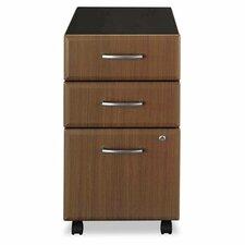 2 Box/1 File Drawer Mobile Vertical File, 15-5/8w x20-3/8d, Sienna Walnut/Bronze