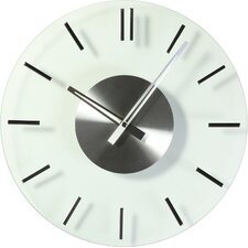 "16"" Mid Century Round Glass Wall Clock"