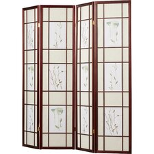 "Reda 70"" x 68"" Gia 4 Panel Room Divider with Chinese Flower Design"