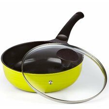 """9.8"""" Non-Stick Wok Pan with Lid"""