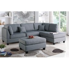 Bobkona Dervon Reversible Chaise Sectional