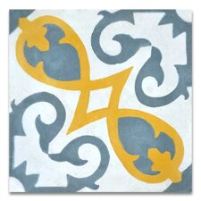 """Agadir 8"""" x 8"""" Cement Patterned/Field Tile in Gray/Yellow"""
