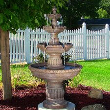 Fiberglass/Resin Mediterranean 4 Tiered Outdoor Water Fountain