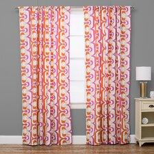 Geometric Semi-Sheer Rod Pocket Single Curtain Panel