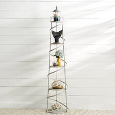 Easton 5 Tier Metal Lighthouse Display Unit with Glass Cylinder for Candle