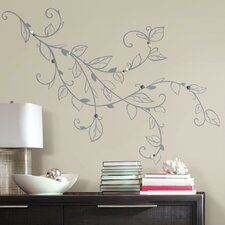 Deco Silver Leaf Giant with Pearls Peel and Stick Wall Decal