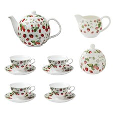 RHS Strawberry 7 Piece Bone China Tea Set