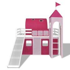 Hochbett mit Prinzessinnenzelt, Rutsche und Leiter, 90 x 200 cm
