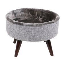 Round Cat Bed with Wood Leg