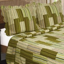 Camping Patchwork Stripe Quilt Cotton Throw