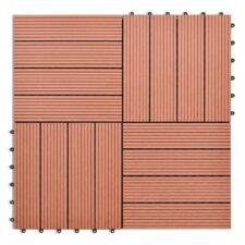 11-tlg. 30 cm x 30 cm Terrassenfliese aus WPC Holz