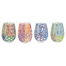 4 Piece 12 oz. Stemless Wine Glass Set
