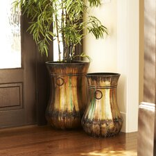 Hand-Painted Trumpet Floor Vase