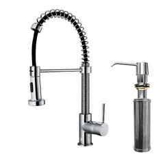 Edison Single Handle Pull-Down Spray Kitchen Faucet with Soap Dispenser