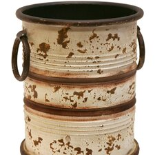 Distressed Metal Barrel with Ring Handles