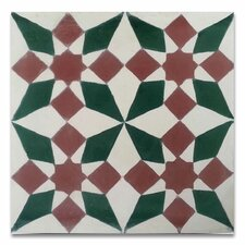 """Joana 8"""" x 8"""" Cement Hand-Painted Tile Red and Green"""