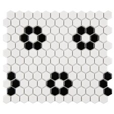 "Retro Hexagon 0.875"" x 0.875"" Porcelain Mosaic Tile"