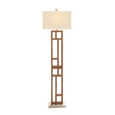 "Wood and Stainless Steel 62"" Floor Lamp"
