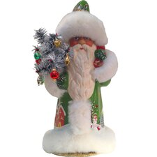 Schaller Paper Mache Candy Container Santa with Light Green Coat