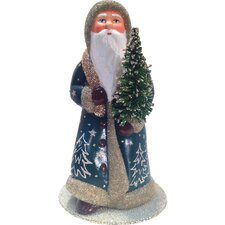 Schaller Paper Mache Candy Container Santa with Green Coat and Tree