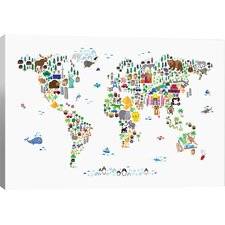 'Animal Map of the World' Graphic Art Print