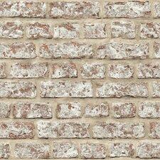 "Rustic 33.5' x 22"" Brick Wallpaper Roll"