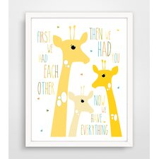 First We Had Each Other Yellow Giraffe Paper Print