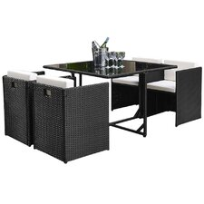 Dunlap 5 Piece Outdoor Dining Set with Cushion
