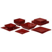 Nova Square Beaded 19 Piece Dinnerware Set, Service for 6