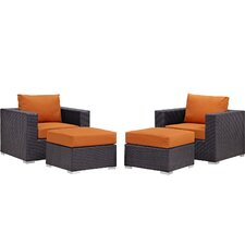 Convene 4 Piece Lounge Chair Set with Cushions