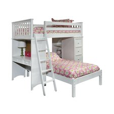David SSS Twin Loft Bed with Lower Platform Bed