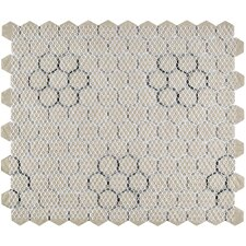 "Retro Hexagon 0.875"" x 0.875"" Porcelain Mosaic Tile in Glazed White/Black"