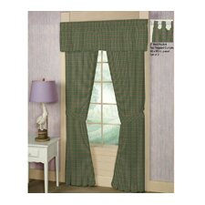 Green Hunter and Tan Checks Curtain Panels (Set of 2)