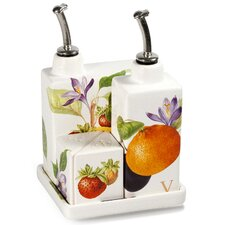 Vivere 4 Piece Fruit Tree Oil, Vinegar, Salt and Pepper Set with Tray