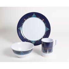 Decorated Melamine Compass 12 Piece Dinnerware Set, Service for 4