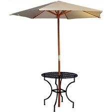 """Easy to Assemble Iron Round Dining Table with 2.75"""" Umbrella Holder"""