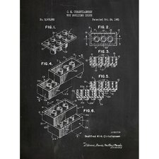 Toys and Collectibles 'Lego Brick' Silk Screen Print Graphic Art in Chalkboard/White Ink