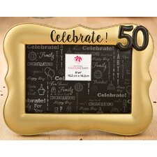 gold 50th debossed picture frame