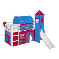 Hochbett Spiderman mit Turm, Rutsche und Vorhang