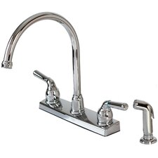 Double Handle Deck Mounted Kitchen Faucet with Spray
