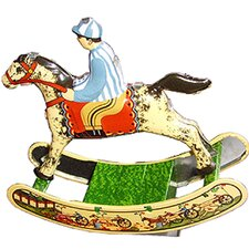 Collectible Decorative Tin Toy Horse with Rider