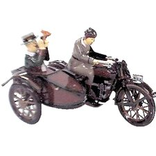 Collectible Decorative Tin Toy Motor Cycle with Passenger in Sidecar